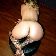 Blonde bitch is showing her red ass and most private parts without limits