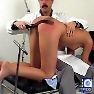 Full medical examination and a harsh spanking for a stunning brunette