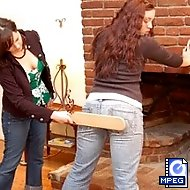 10 with a wooden paddle on tight denim jeans for nanny�s breach of contract