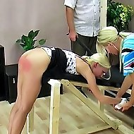 Short blond slut gets strapped down and paddled