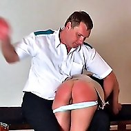 cute girl with stockings gets bent over and spanked