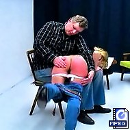 Nina removes her jeans to receive her corporal punishment