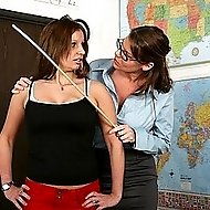 School teacher uses wooden paddle on a very hot girls bare ass!