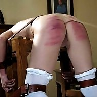 4 disobedient young ladies brutally caned over a bench